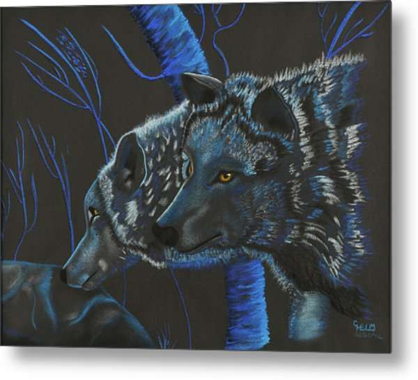 Blue Wolves Metal Print