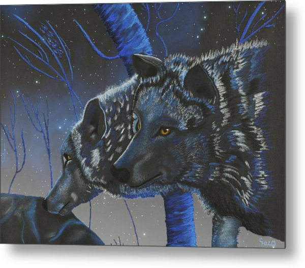 Blue Wolves With Stars Metal Print