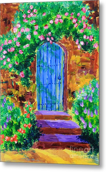 Blue Wooden Door To Secret Rose Garden Metal Print