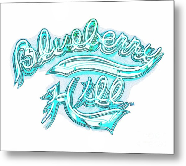 Blueberry Hill Inverted In Neon Blue Metal Print