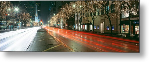 Blurred Motion Of Cars Along Michigan Metal Print