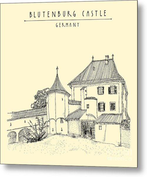 Blutenburg Castle Near Munich, Bavaria Metal Print