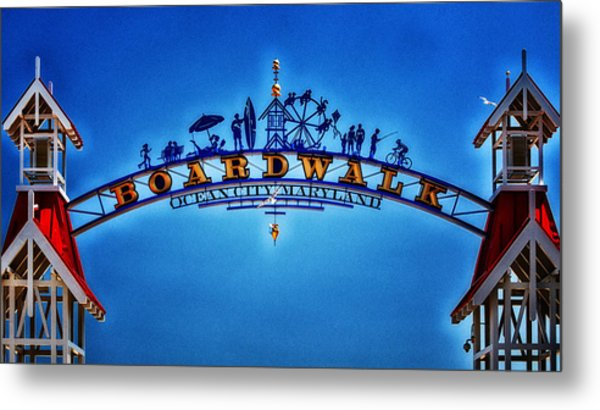 Boardwalk Arch In Ocean City Metal Print