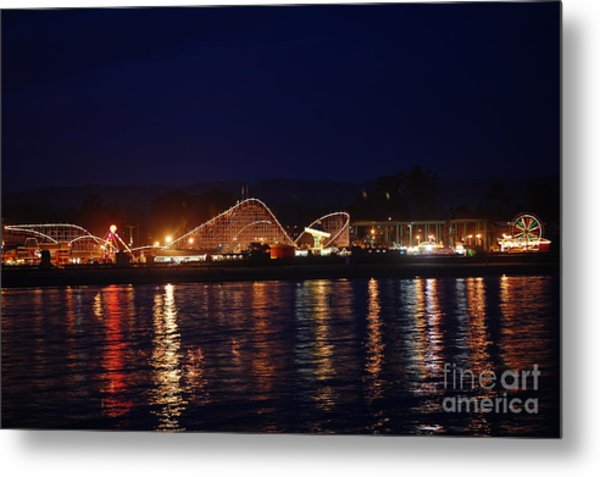 Santa Cruz Boardwalk At Night Metal Print