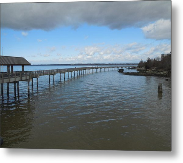 Boardwalk In Blue Metal Print