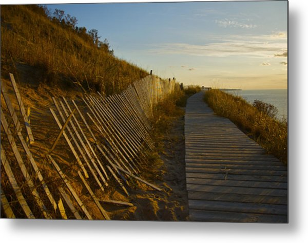 Boardwalk Overlook At Sunset Metal Print