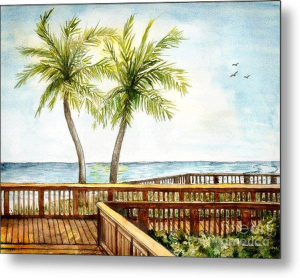 Boardwalk With Two Palms Metal Print