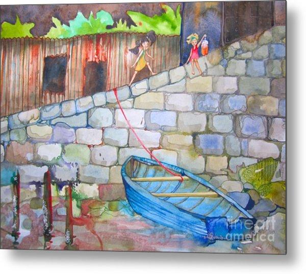 Boat Along The Wall Metal Print by Maya Simonson