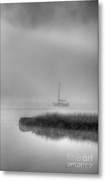 Boat And Morning Fog Metal Print