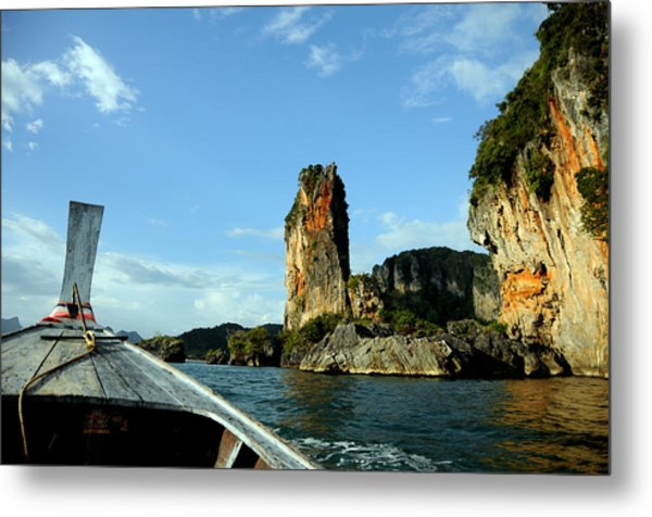 Boat And Rock Metal Print by Money Sharma
