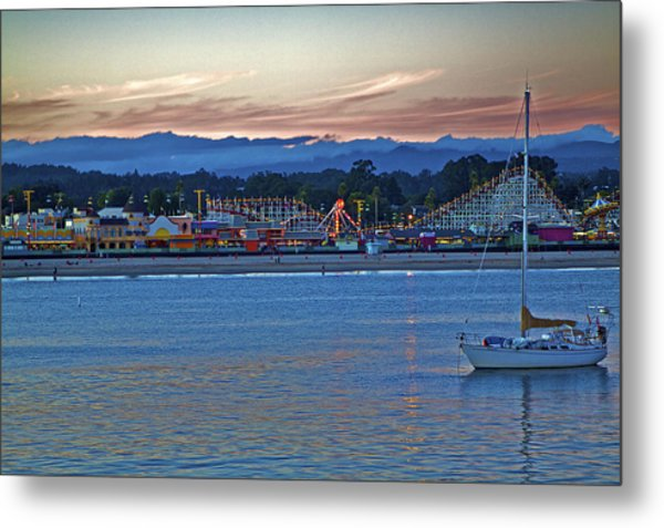 Boat At Dusk Santa Cruz Boardwalk Metal Print