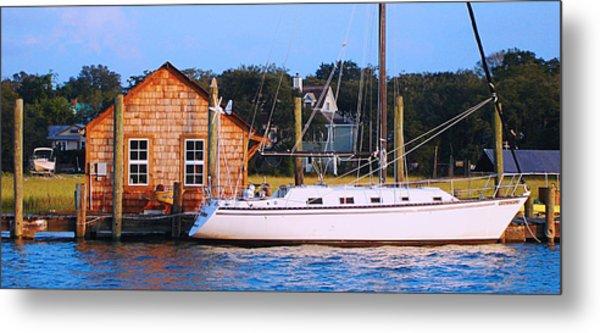 Boat At Shem Creek By Jan Marvin Metal Print