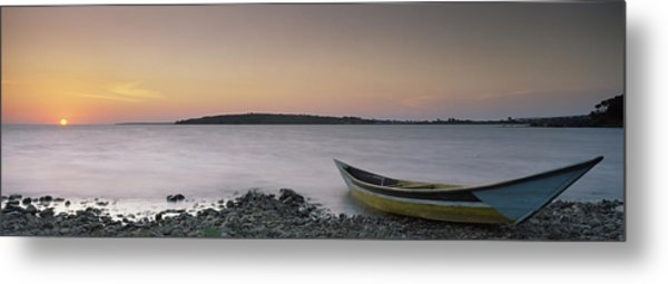 Boat At The Lakeside, Lake Victoria Metal Print