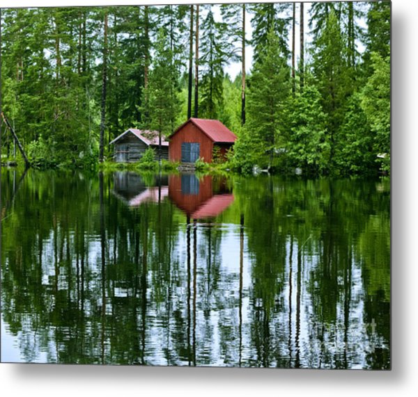 Boat House On Swedish Lake Metal Print