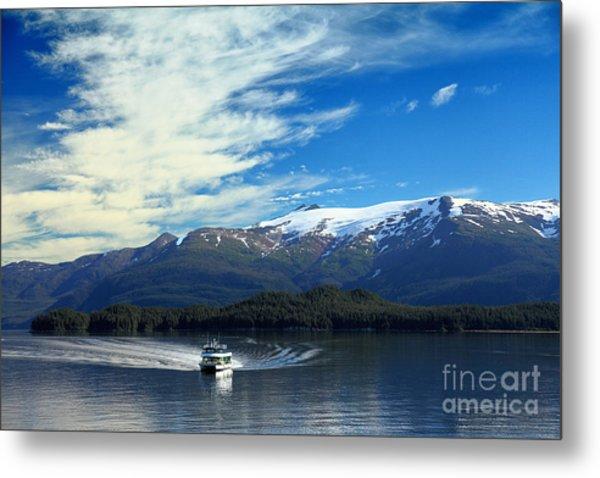 Boat In Alaska Fjord Metal Print