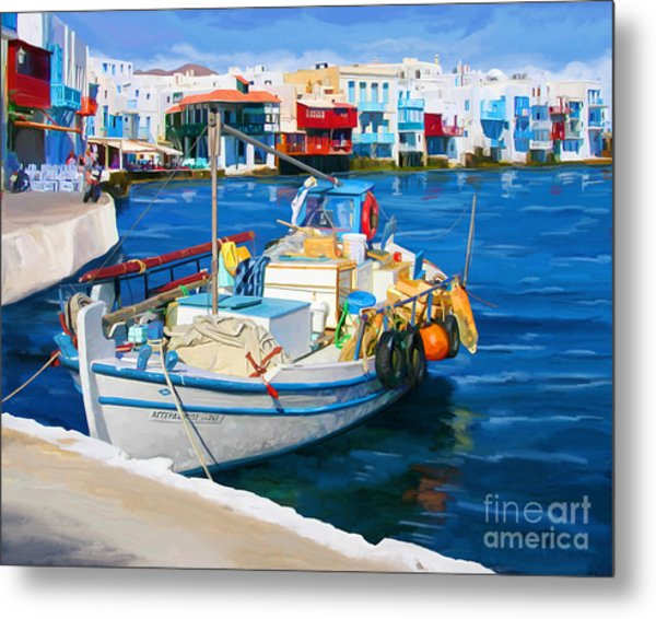 Boat In Greece Metal Print