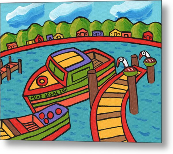 Boat In The Bayou - Cedar Key Metal Print