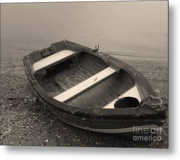 Boat On Black Metal Print by Katerina Kostaki