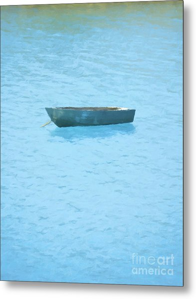 Boat On Blue Lake Metal Print