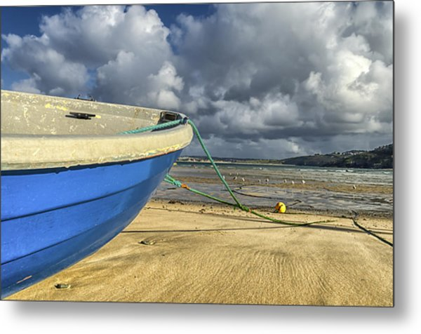 Blue Boat At St Ives Metal Print