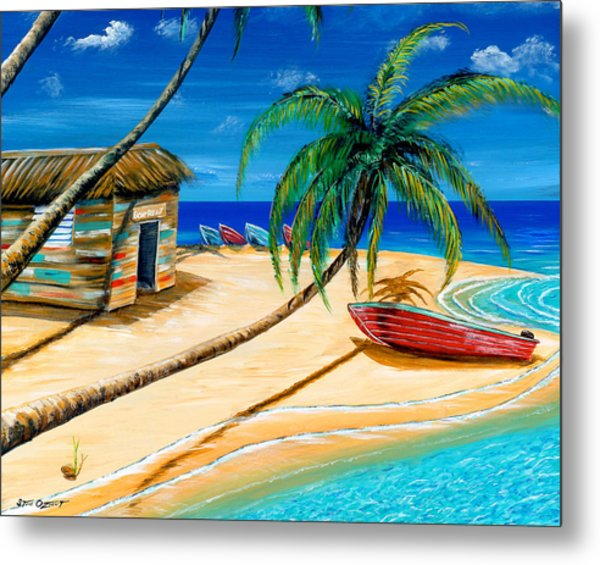 Metal Print featuring the painting Boat Rent by Steve Ozment