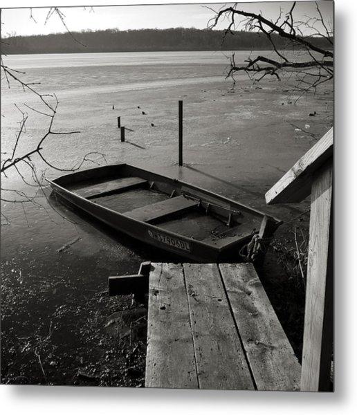 Boat In Ice - Lake Wingra - Madison - Wi Metal Print