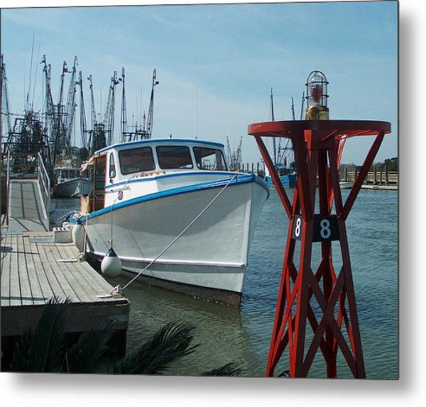 Boat With Light Buoy By Jan Marvin Metal Print