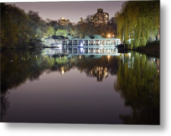 Boathouse Reflection Metal Print