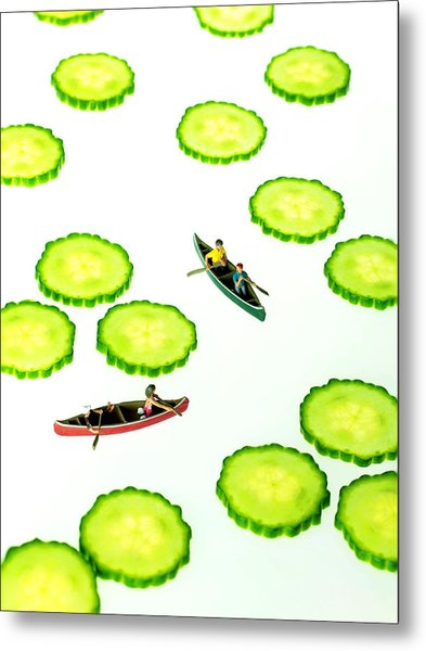 Boating Among Cucumber Slices Miniature Art Metal Print