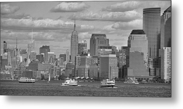 Boating In New York City Black And White Metal Print