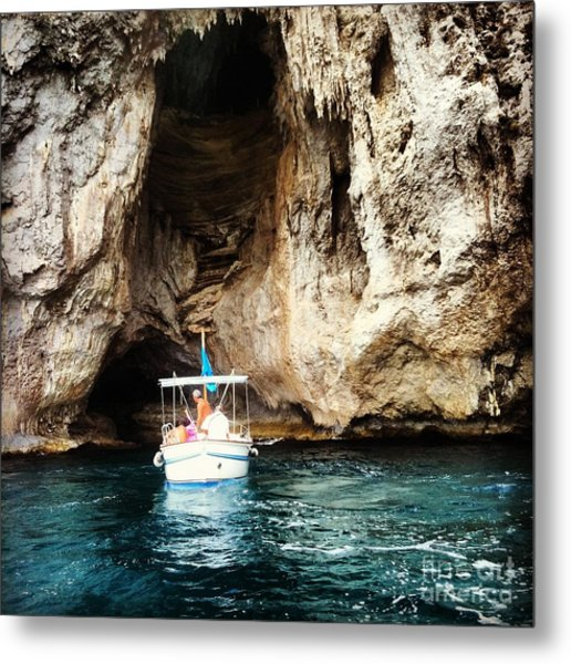 Boating In The Grotto Metal Print by H Hoffman