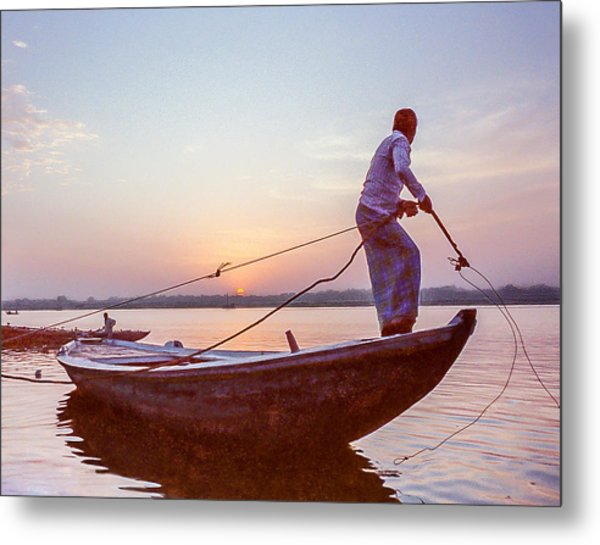 Boatman On The Ganges Metal Print