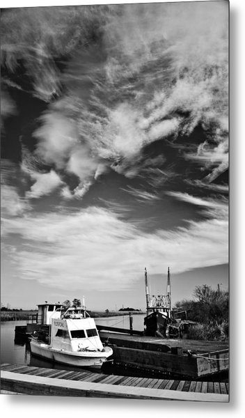 Boats And Sky Bw Metal Print