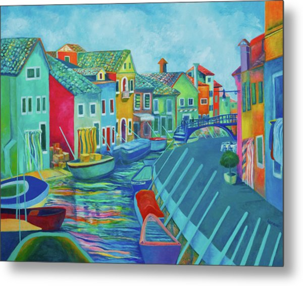 Boats At Burano Metal Print