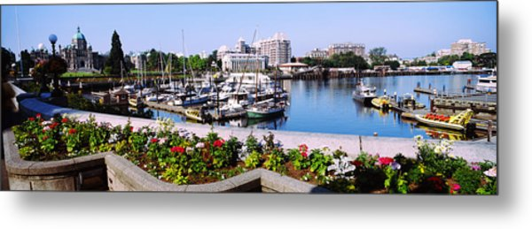 Boats At Inner Harbor With Parliament Metal Print