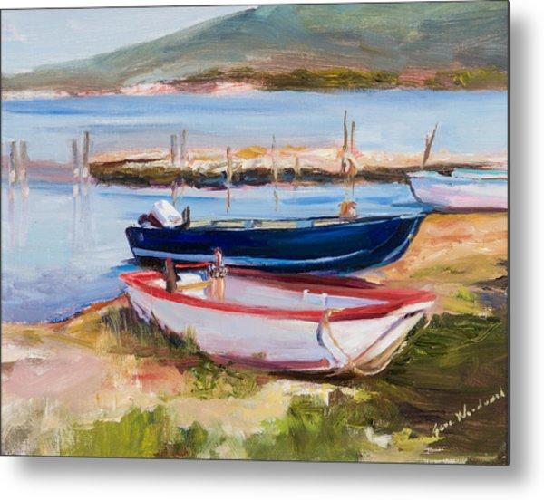 Boats At Lake Tresimeno Metal Print