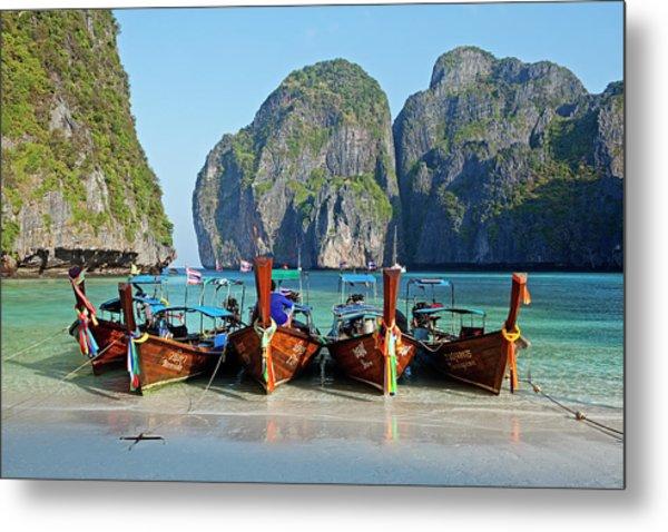 Boats At Maya Bay, Phi Phi Ley Metal Print by John W Banagan