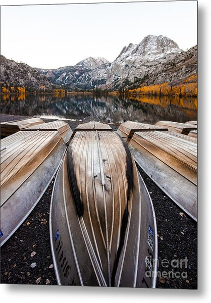 Boats At Mountain Lake In Autumn Fine Art Photograph Print Metal Print