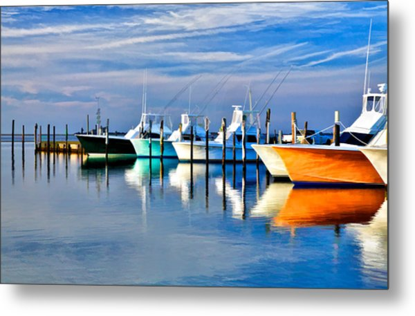 Boats At Oregon Inlet Outer Banks II Metal Print
