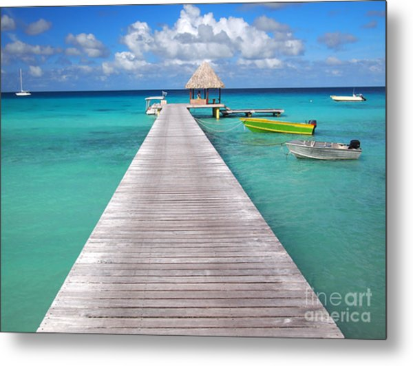 Boats At The Jetty In A Tropical Turquoise Lagoon Metal Print