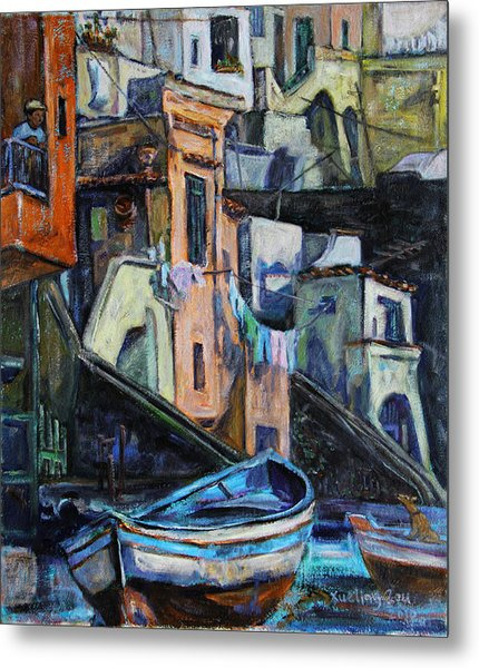 Boats In Front Of The Buildings I  Metal Print