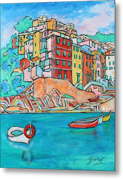Boats In Front Of The Buildings X Metal Print