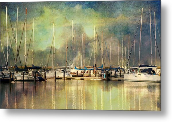 Boats In Harbour Metal Print