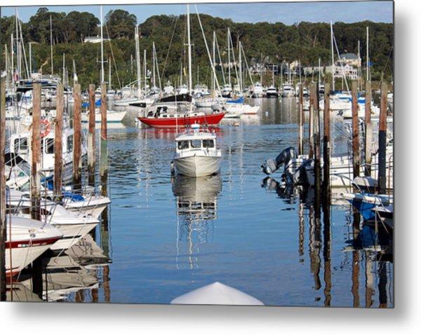 Boats In Huntington Harbor Metal Print
