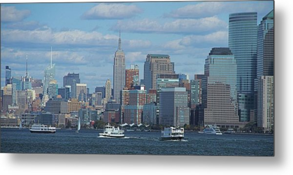 Boats In New York City Metal Print