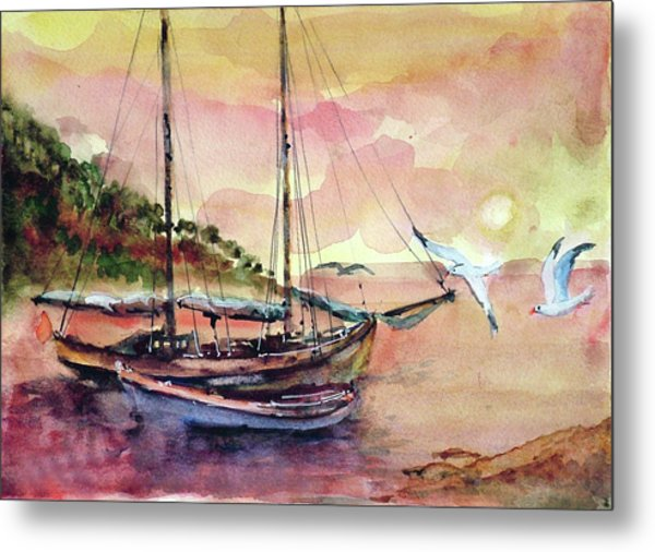 Boats In Sunset  Metal Print