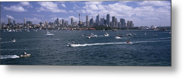 Boats In The Sea, Sydney Harbor Metal Print