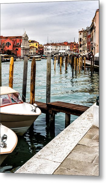 Boats In Venice Metal Print