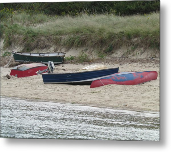 Boats On The Beach Metal Print by Marci Spotts