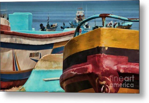 Boats On The Beach - Puerto Lopez - Ecuador Metal Print
